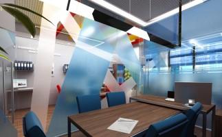 Цельно стеклянные офисные перегородки с нанесением декоративной пленки